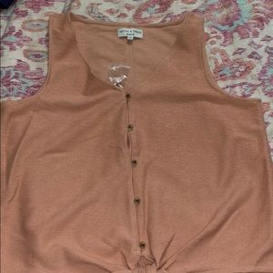 Cotton salmon colored tank with buttons and tie